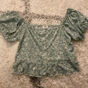 Sage Floral Puff Sleeve Blouse